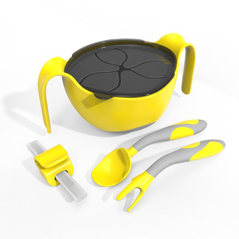 儿童硅胶三合一辅食碗吸盘式餐具