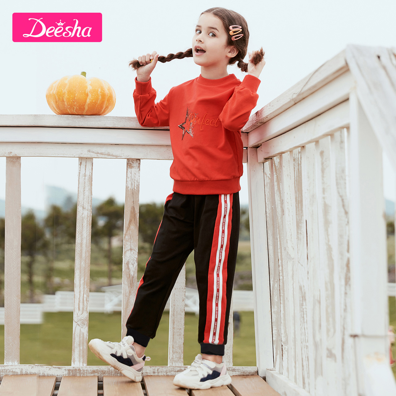 Deesha Mini 笛莎 女童休闲运动套装两件套 天猫优惠券折后¥69包邮(¥119-50)90~165码多色可选