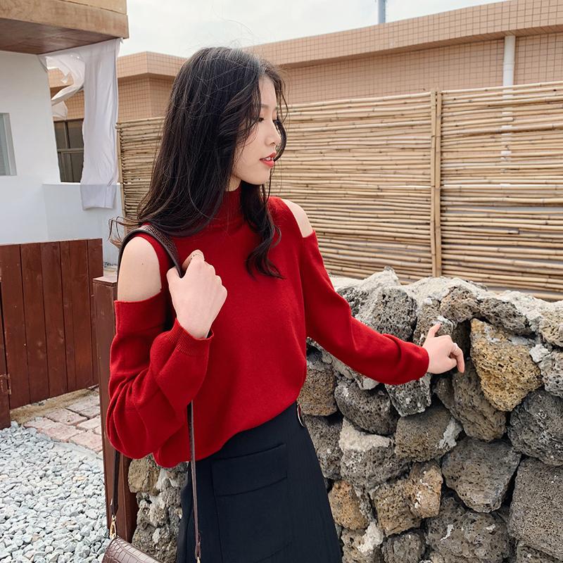 打底针织上衣衫女2019新款时尚韩版宽松露肩性感毛衣高领女装气质