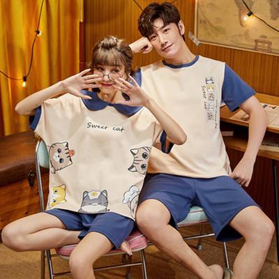夏季薄款纯棉情侣睡衣女男士两件套短袖短裤夏天大码可外出家居服