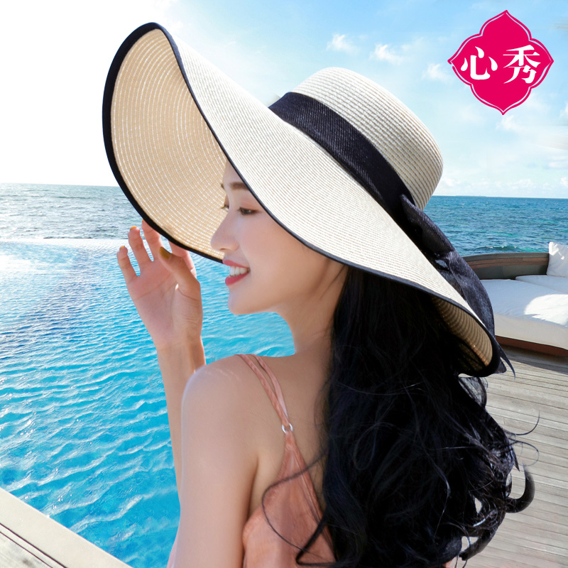 228b11a7 Beach hat, straw hat, big hat, female, summer, folding, sun protection, sun  hat, seaside holiday, Korean version, wild
