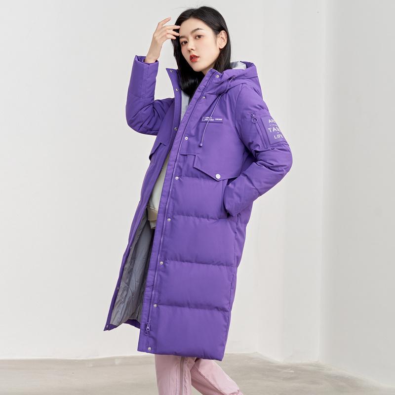 冰洁工装风羽绒服女中长款2021年新款冬连帽时尚韩版显瘦保暖外套