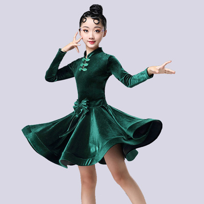 Children's Latin dance dress, girls' professional training dress, girls' competition dress, long sleeve Latin Dance Dress