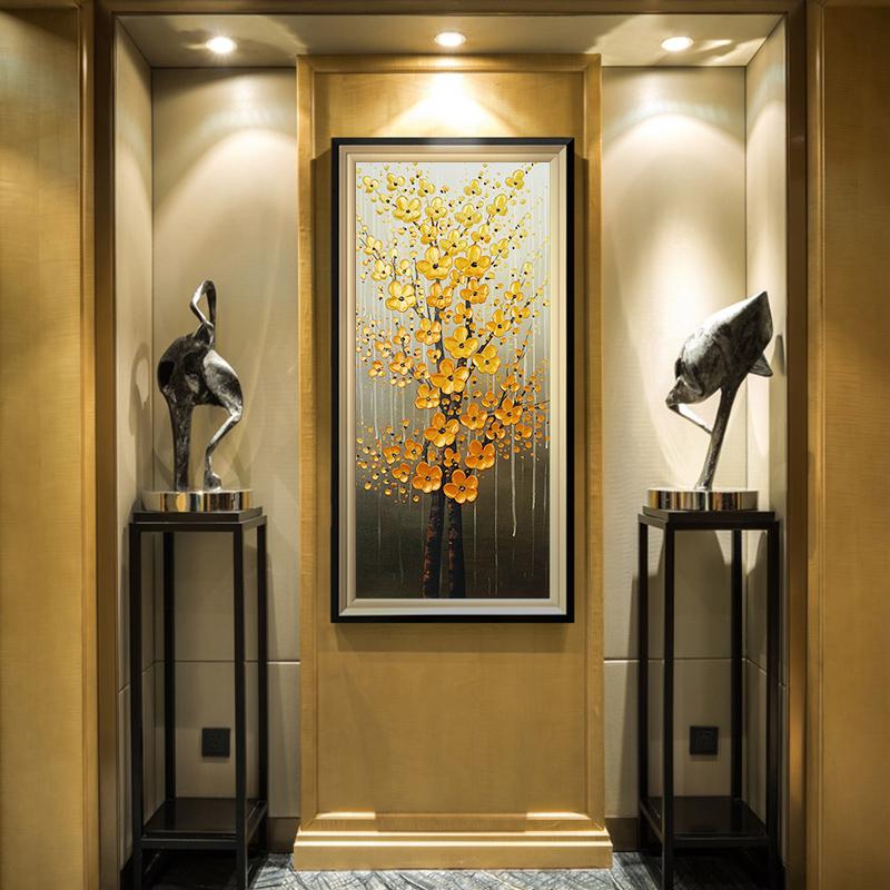 手绘树纯发财走廊过道油画玄关装饰画立体挂画竖版轻奢3d客厅美式