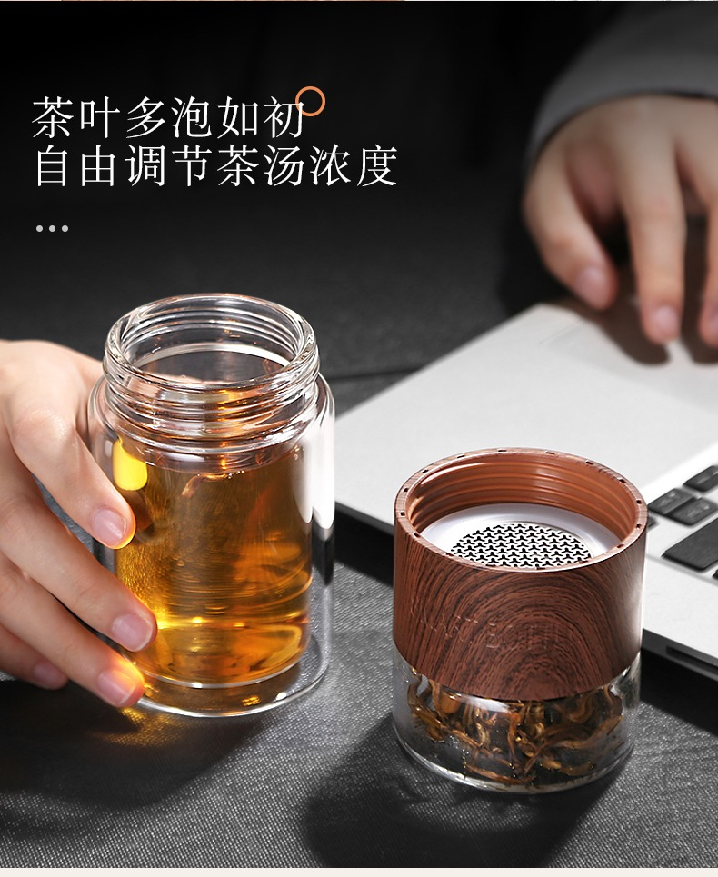 "Association between high borosilicate double - layer glass water cup home portable water separation filter ""women with men travel"
