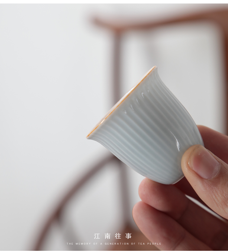 江南往事 流水条纹色釉盖碗茶杯功夫茶具套装陶瓷家用简约泡茶碗