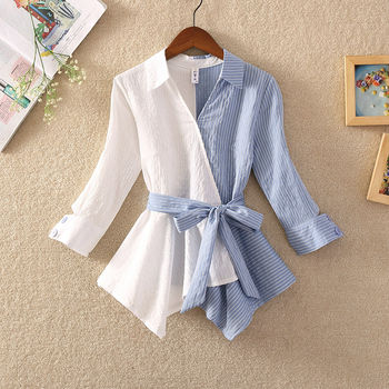 Spring Western style V-neck lace stitching Wawa Shan waist skirt small shirt design sense niche Sleeve Shirts Tops