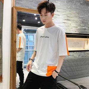 2019夏季新款圆领拼色男短袖T恤打底衫