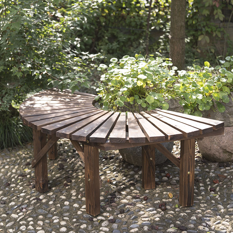 Anticorrosive Wood Flower Table Park Chair Outdoor Bench Solid Seat Surround Tree Circle Garden Balcony Rack