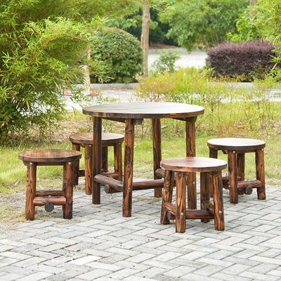 Hotel table and chair round table country farm farmhouse decoration outdoor solid wood millet table garden outdoor with stool