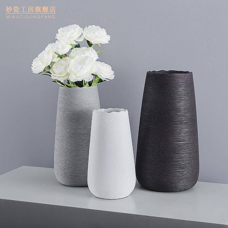 现代简约北欧陶瓷手工拉丝花瓶摆件白色插花花器家用客厅装饰饰品