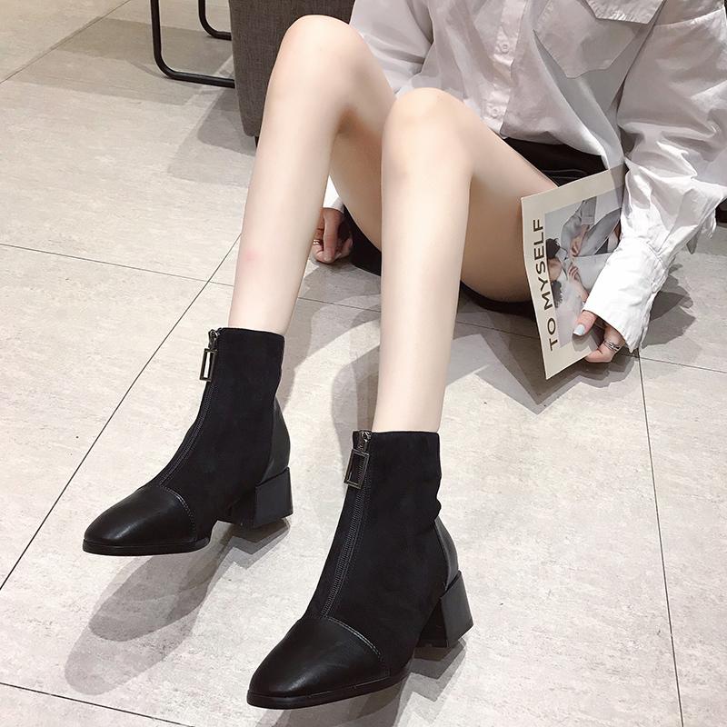 2019新款马丁靴ins网红瘦瘦靴前拉链裸靴方头粗跟短靴女秋冬单靴