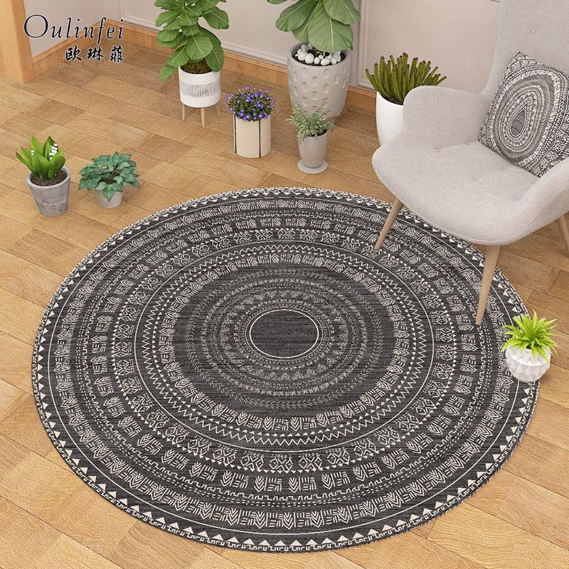 简约北欧圆形地毯地垫家用