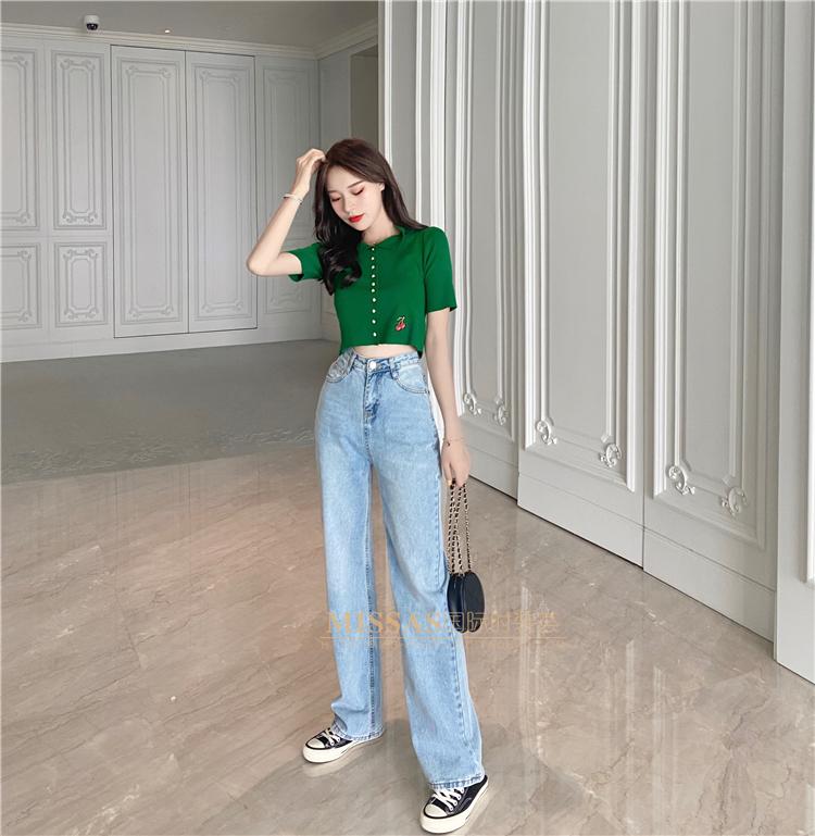 买手店设计师樱桃印花针织中袖恤牛仔裤春夏新详细照片