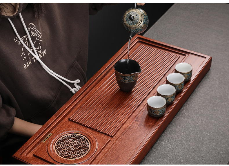 By Congo hua limu tea tray type large annatto contracted household solid wood tea table drainage bakelite tray