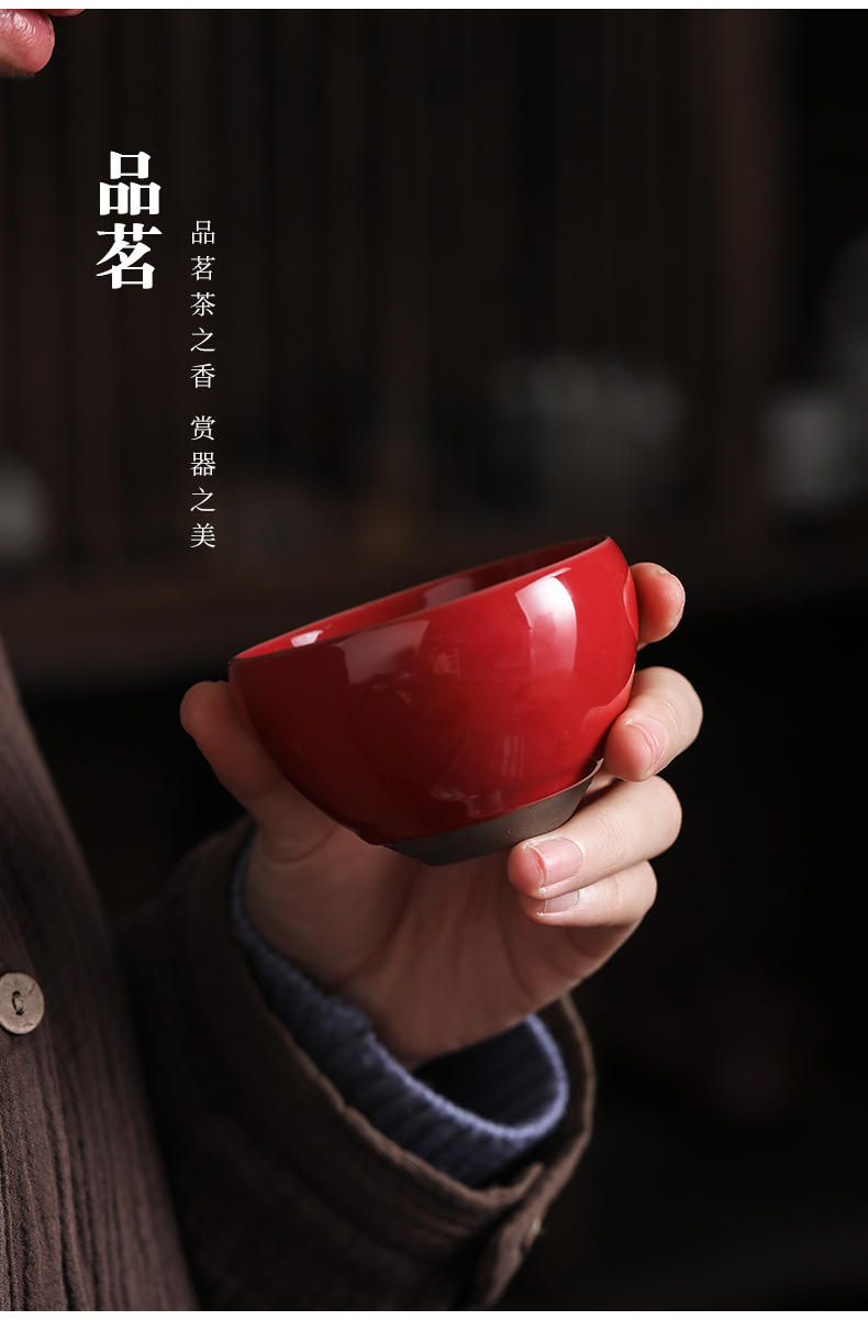 By both red guanyao tea master cup single cup sample tea cup kung fu ceramic cups and move large - sized restoring ancient ways