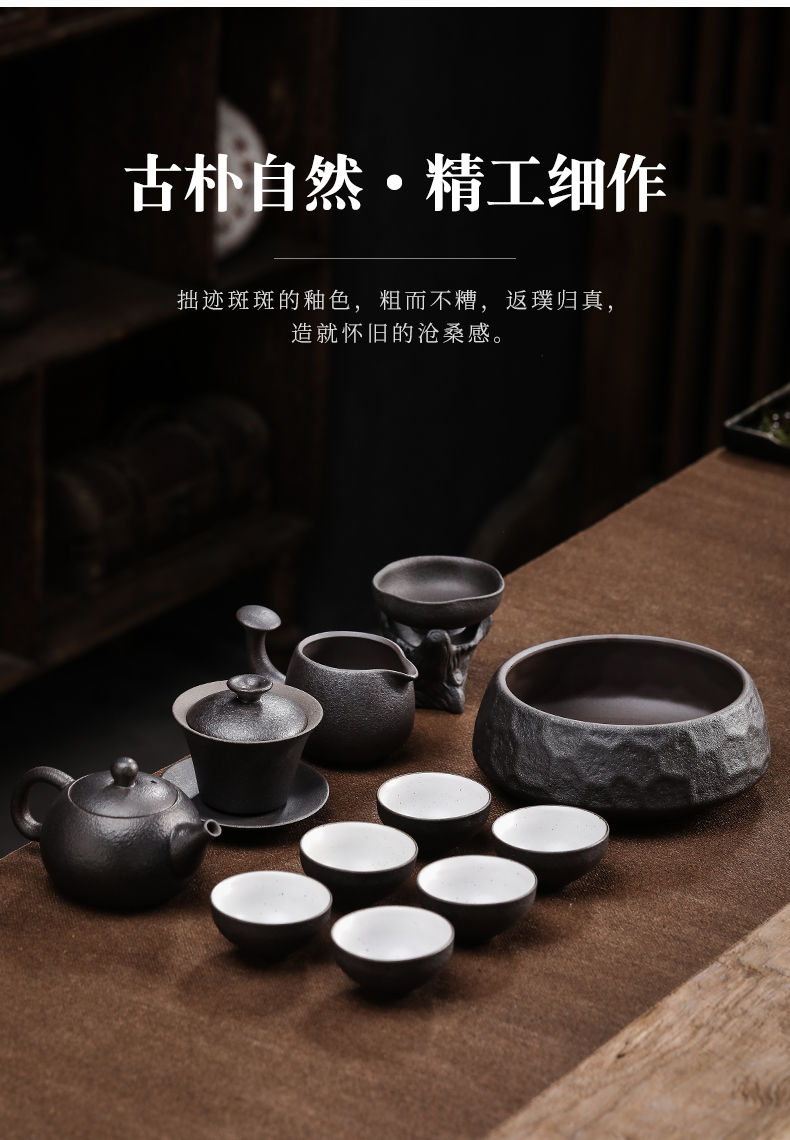 By Japanese kung fu tea set tea tray household contracted ceramic cups of a complete set of coarse pottery teapot tea set