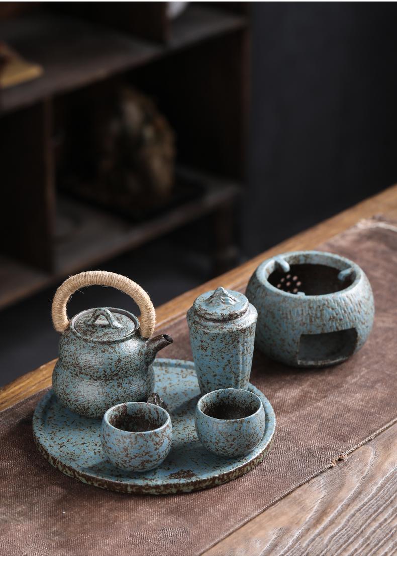By Japanese kung fu tea set suit household ceramics girder teapot teacup dry tea consolidation set of tea set