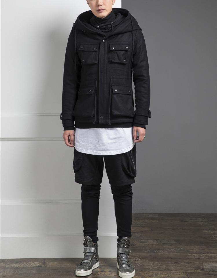 Mùa đông mới của Hàn Quốc phiên bản của vô hình flash trăng triều nam dây kéo cá tính mũ lớn đa túi Slim coat coat jacket