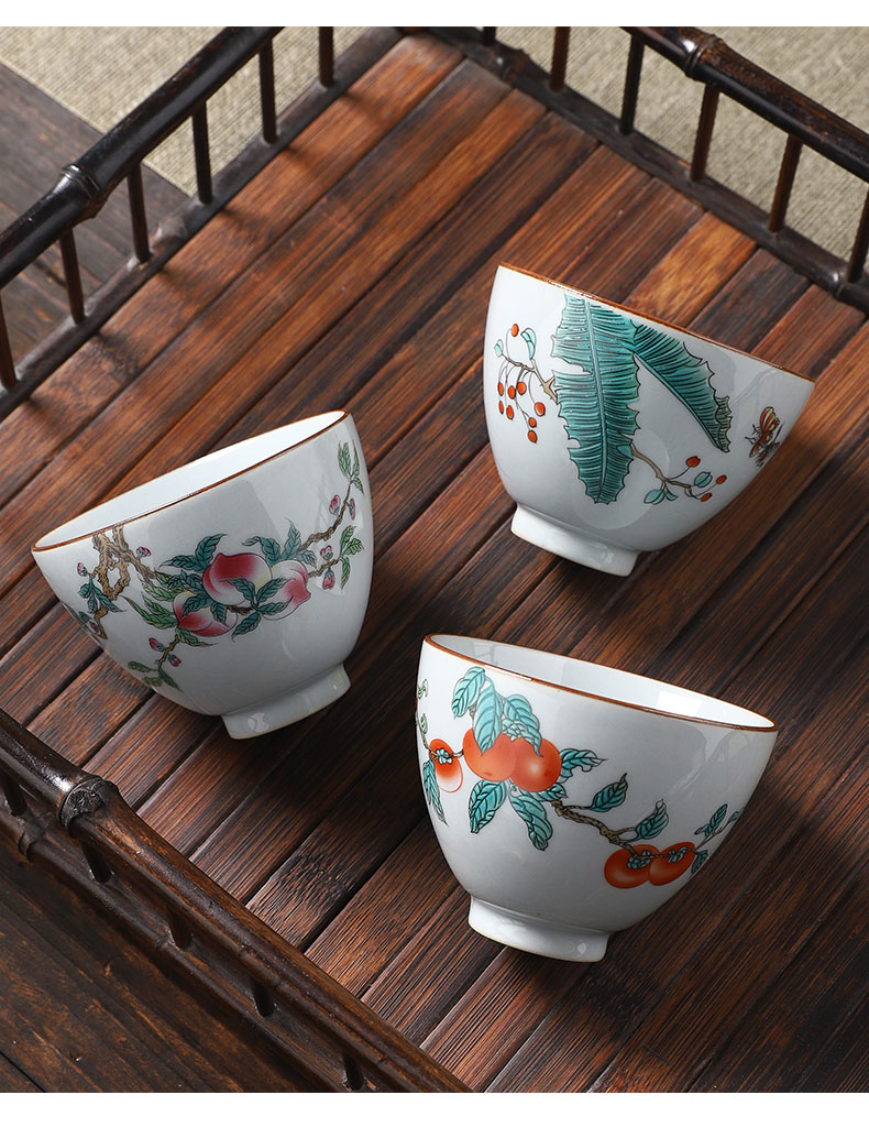 Persimmon Persimmon ruyi tea set ceramic masters cup single cup participants in high - grade up man noggin single sample tea cup kung fu