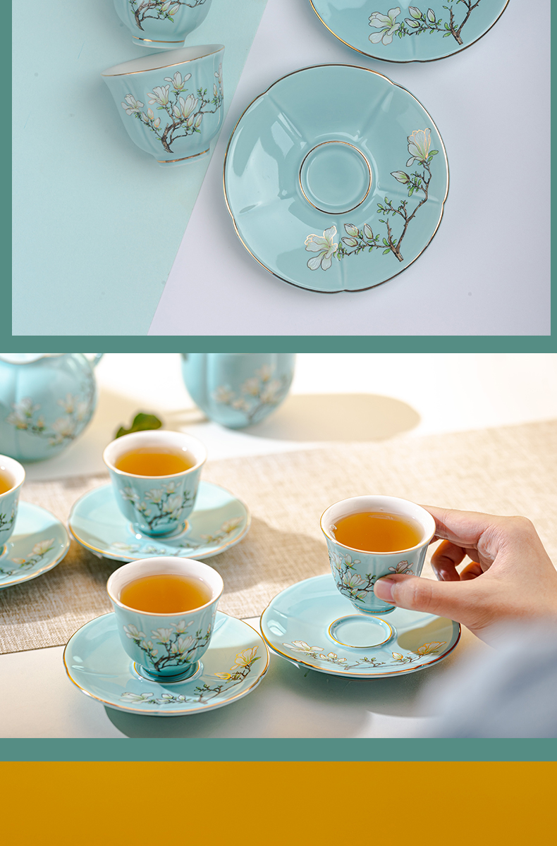 Jingdezhen tea sets a light key-2 luxury contracted modern kung fu tea pot household teacup pad supporting high - end gift box