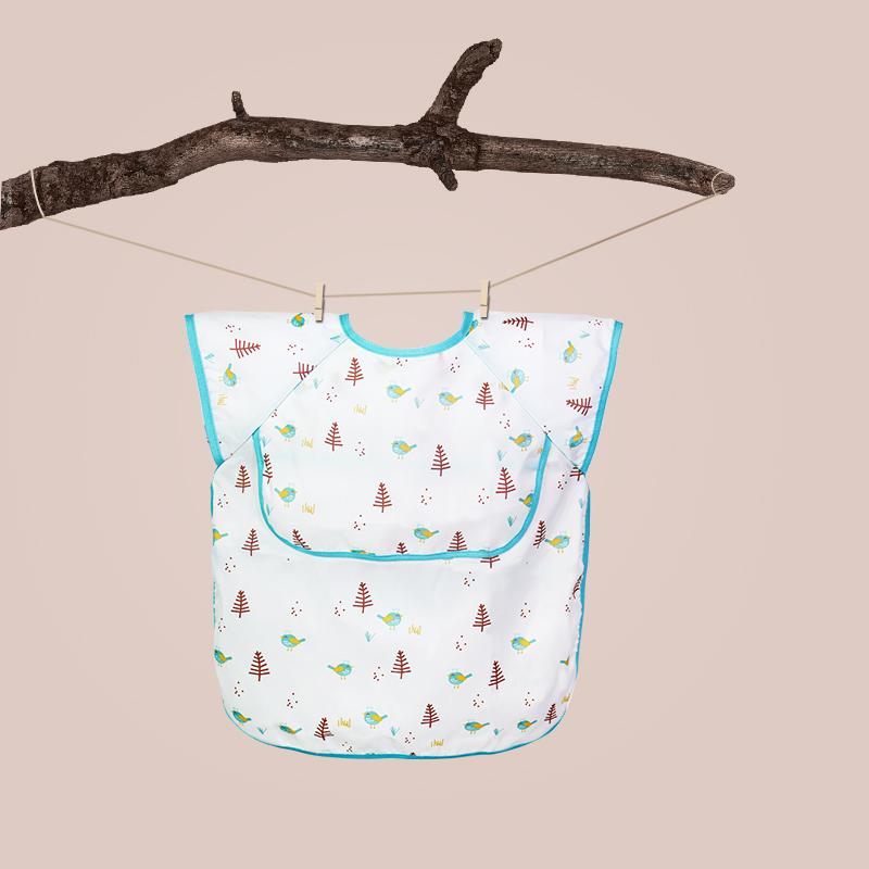 日本bakala宝宝防水罩衣吃饭婴儿童无袖围兜女宝饭兜防脏夏季薄款