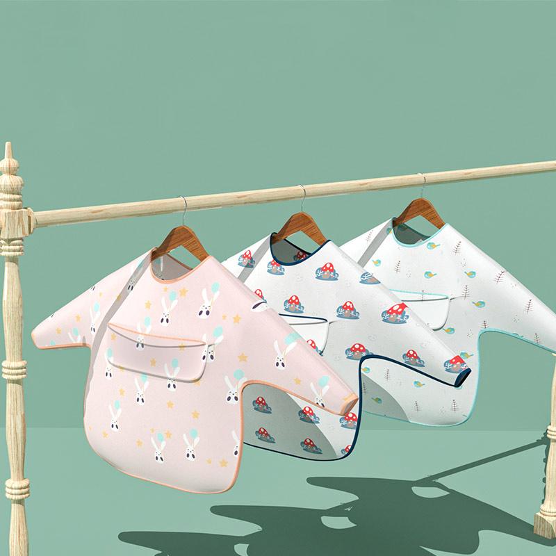 (过期)吧咖啦旗舰店 宝宝罩衣防脏婴儿童防水吃饭围兜透气薄款 券后9.99元包邮