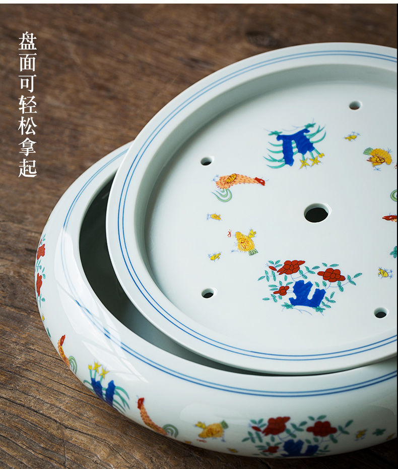 Jingdezhen tea color bucket cylinder cup dried chicken dish of household ceramic saucer dish water sea to restore ancient ways small tea tea set