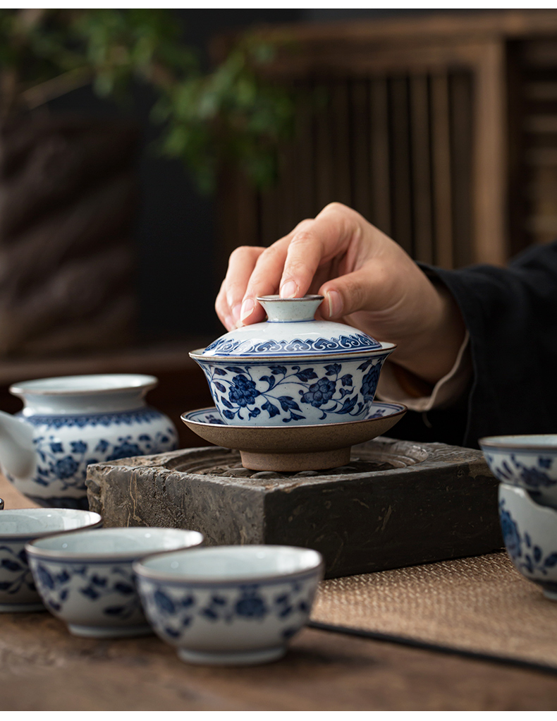 Hand tureen jingdezhen ceramic cups only three bowls of kung fu tea tureen of blue and white porcelain three cups of tea tureen