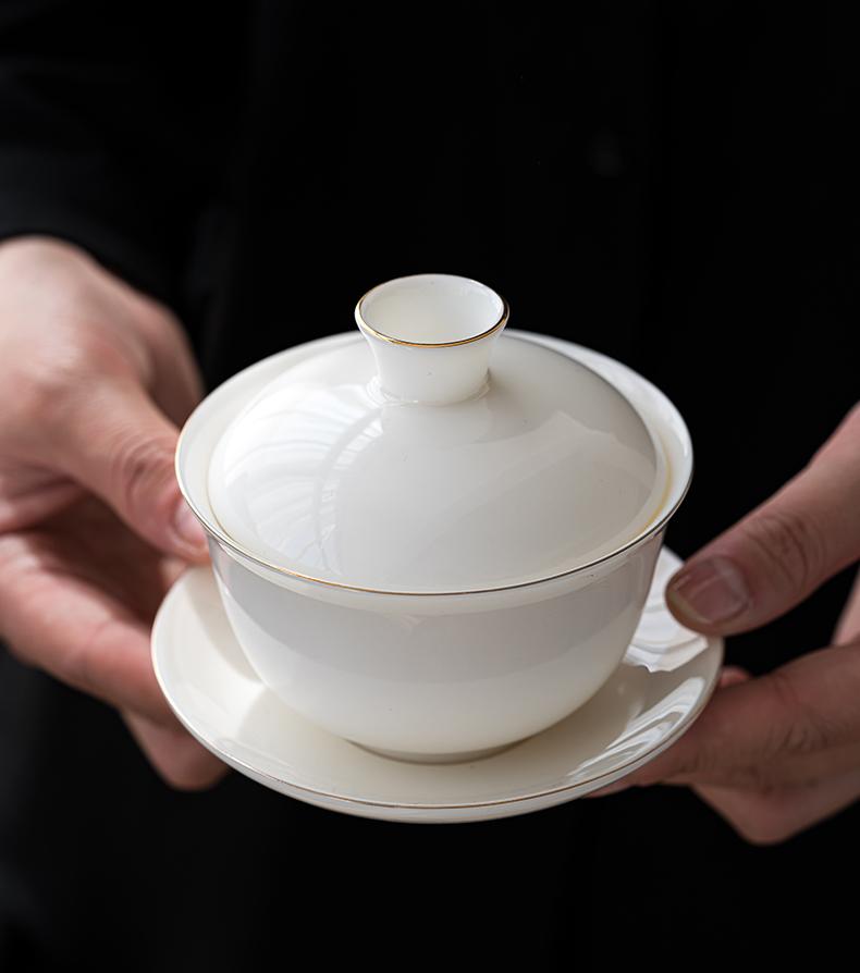 Earth story suet jade white porcelain tureen large kung fu three cups to make tea bowl of individual household ceramic tea set