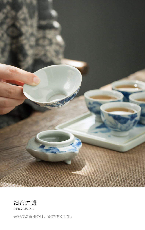 Jingdezhen hand - made porcelain kangxi landscape tureen tea set suits for Chinese zen household kung fu tea set gift boxes