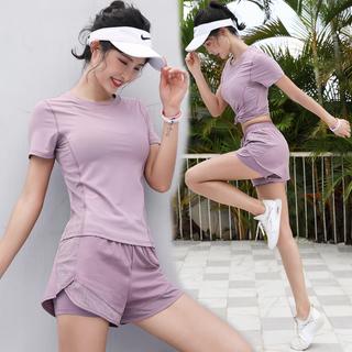 Одежда для занятий йогой,  Чистый красный йога одежда спортивный набор женщины одеваются фитнес дом бег специальность быстросохнущие одежда конец мода тонкая модель лето утро пробег, цена 1622 руб