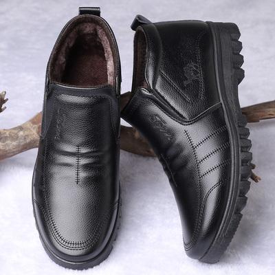 中老年人男士高帮加绒加厚棉鞋爸爸鞋