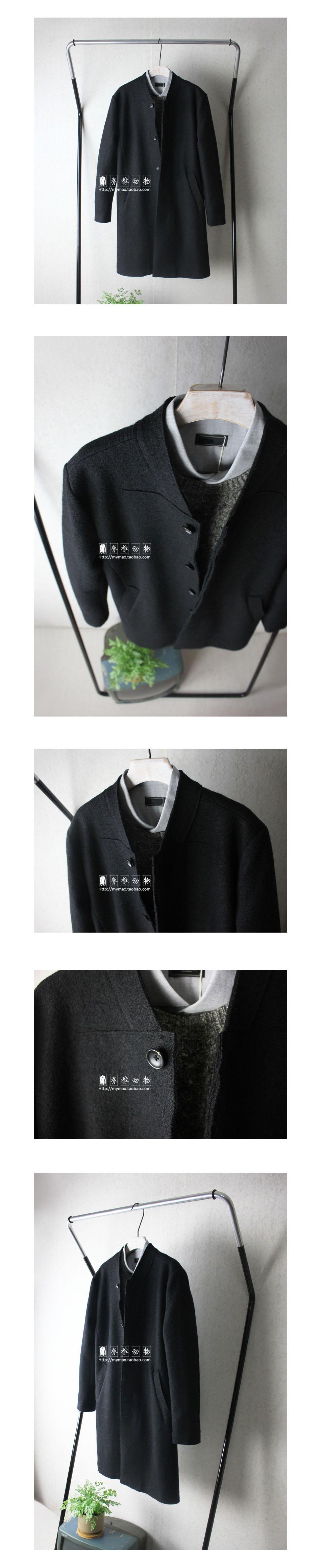 Vertebrate Men của Len Retro Trung Bình Dài Coat Nhật Bản Phong Cách Nguyên Cạnh Casual Dài Áo Khoác