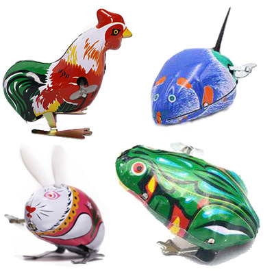 Post-80s classic nostalgic tin frog rabbit rooster mouse toy children's winding clockwork will jump