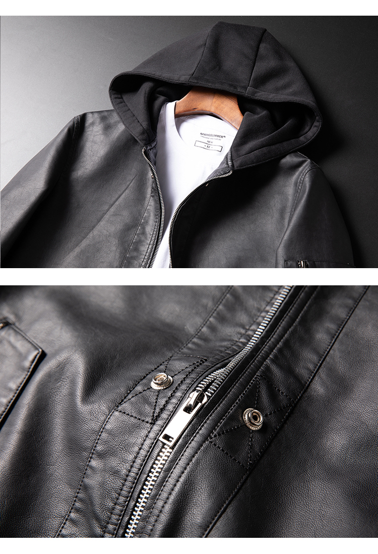 2020春季款 男士连帽皮衣男 韩版修身大码皮夹克外套黑底PM09P115