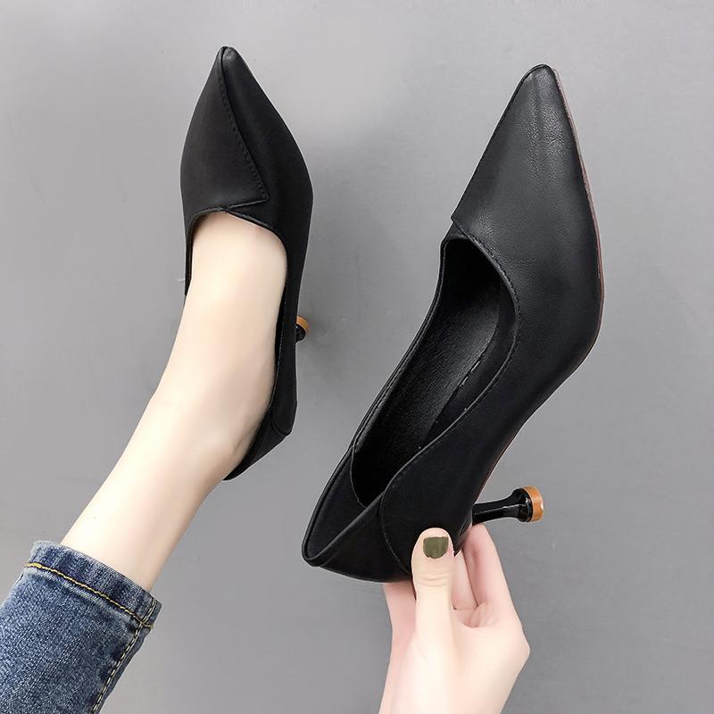女鞋a女鞋OL尖头工作鞋2019韩版新款气质显瘦单鞋浅口细跟高跟