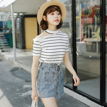2020 summer new small fresh College Wind charade strapless wild striped short-sleeved T-shirt shirt female students