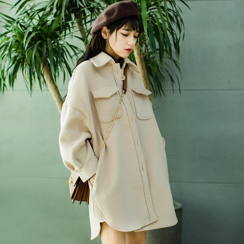 早秋新款茧型毛呢外套女韩版小个子学生森系小清新中长款呢子大衣