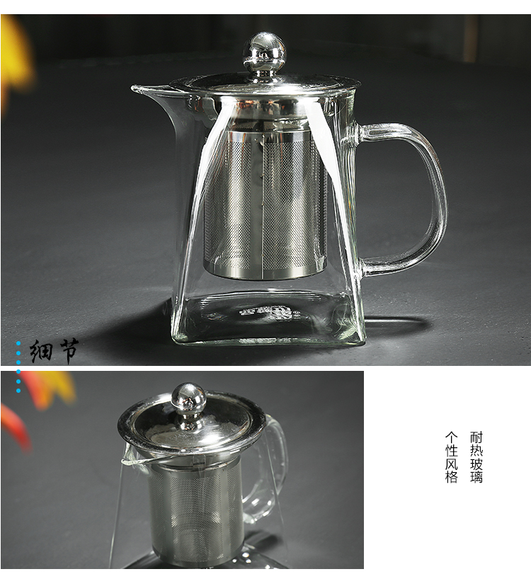 Treasure minister 's transparent glass kung fu tea set suit Japanese hammer red teapot tea cups, thickening of the household