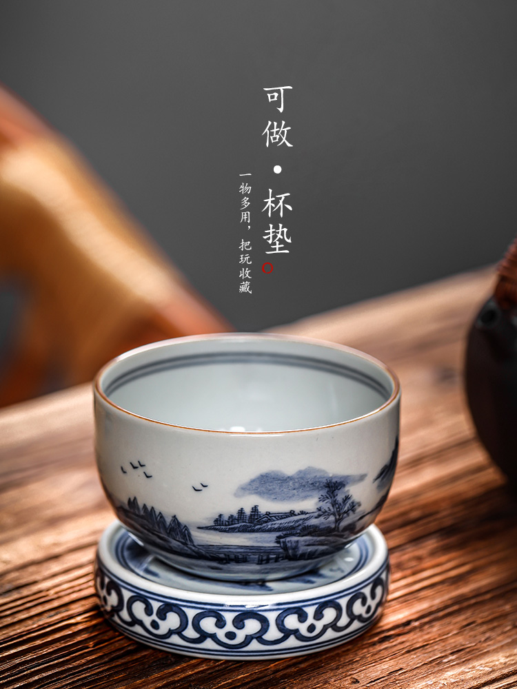 Jingdezhen it buy blue cover cover supporting pure manual landscape coasters Japanese ceramic kung fu tea set with parts