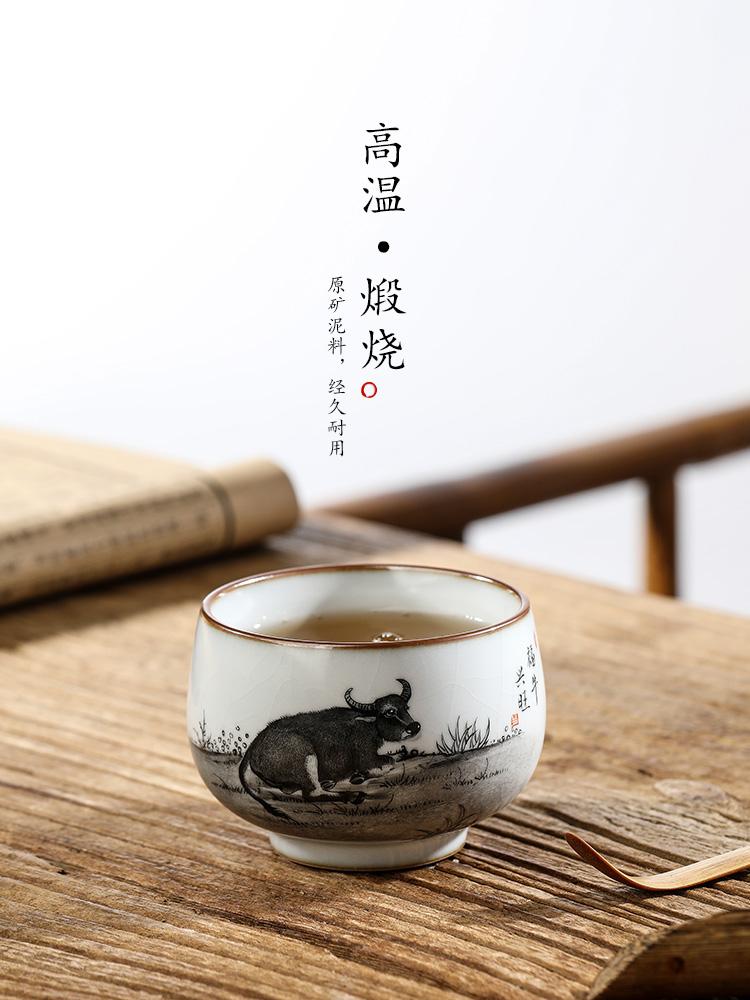 Hand your up jingdezhen tea master cup single cup pure manual zodiac cattle kung fu tea sample tea cup