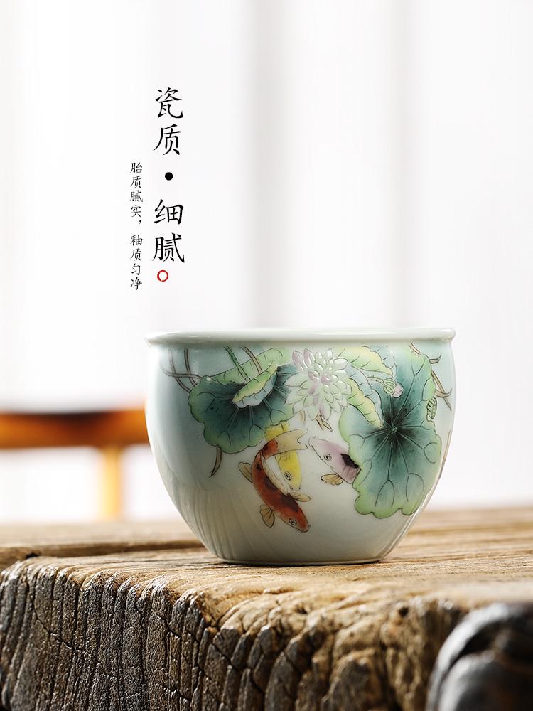 Pure manual jingdezhen master cup single CPU kung fu tea set to restore ancient ways ceramic cups sample tea cup single hand - made of goldfish