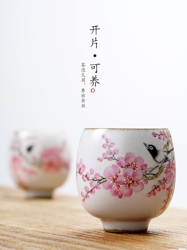 Jingdezhen hand - made teacup Xu Jiaxing peach blossom put water point master cup single CPU woman pure manual your up ceramic sample tea cup
