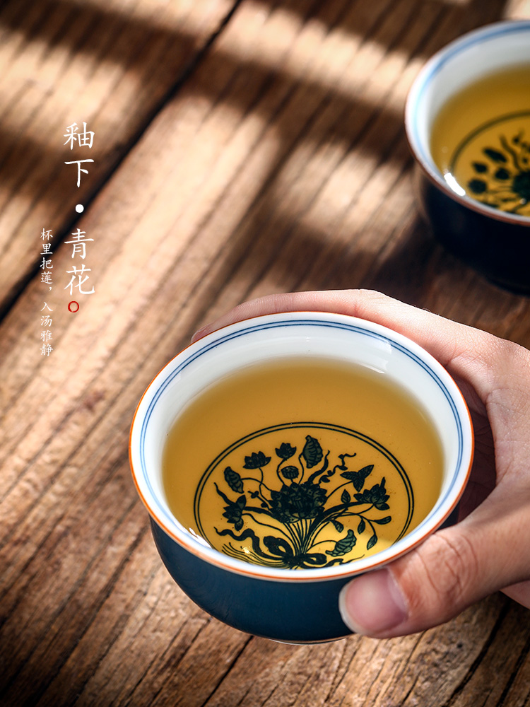 Jingdezhen blue and white master cup of pure manual single cup tea sample tea cup hand - made ceramic cup ji green light gift boxes