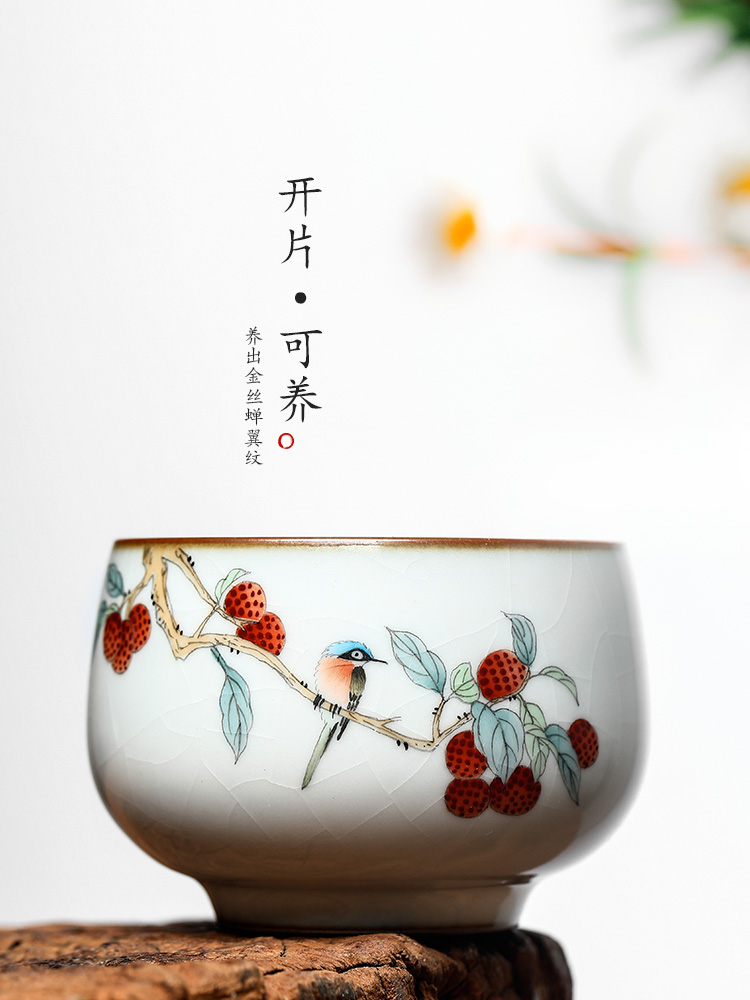 Tea master cup single cup your up with jingdezhen ceramic sample Tea cup of pure manual hand - made teacup litchi for a cup of Tea