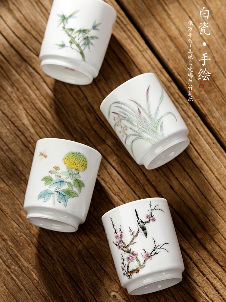 White porcelain hand - made kung fu tea masters cup single CPU jingdezhen pure manual by patterns sample tea cup and cup only