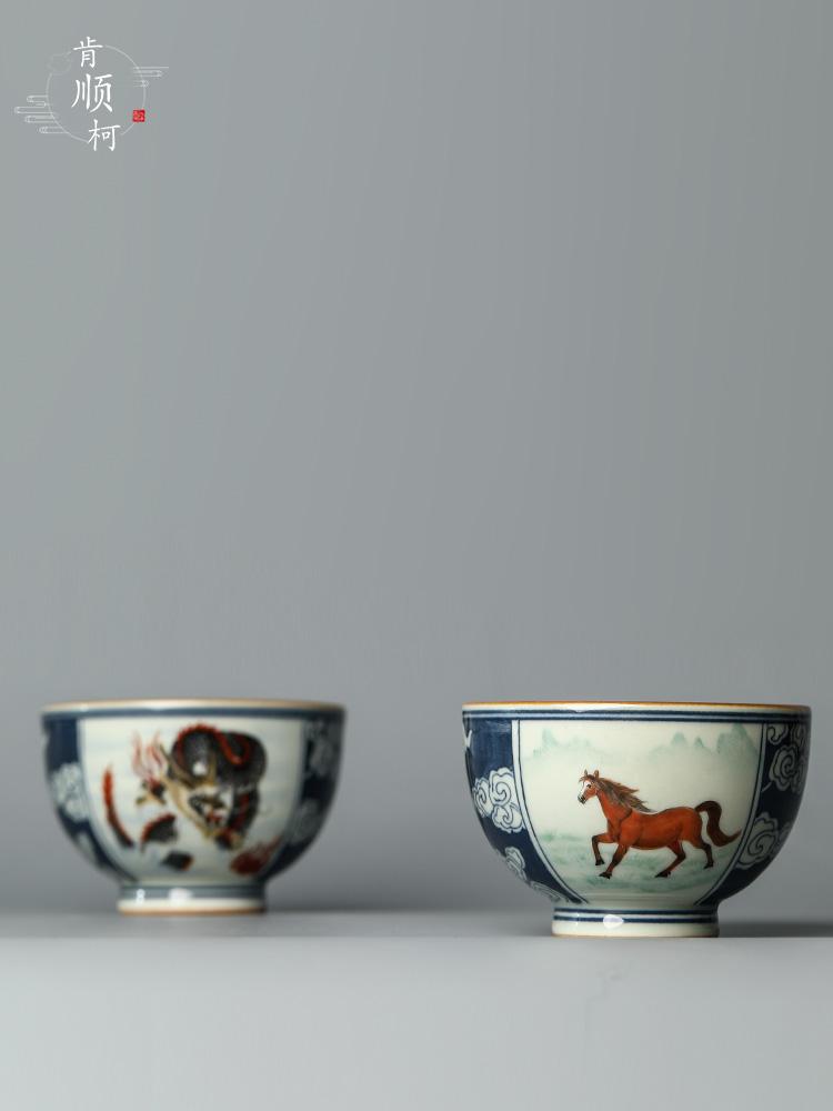 Jingdezhen blue and white hand - made kung fu tea cups pure manual master cup sample tea cup tea cup ceramic zodiac