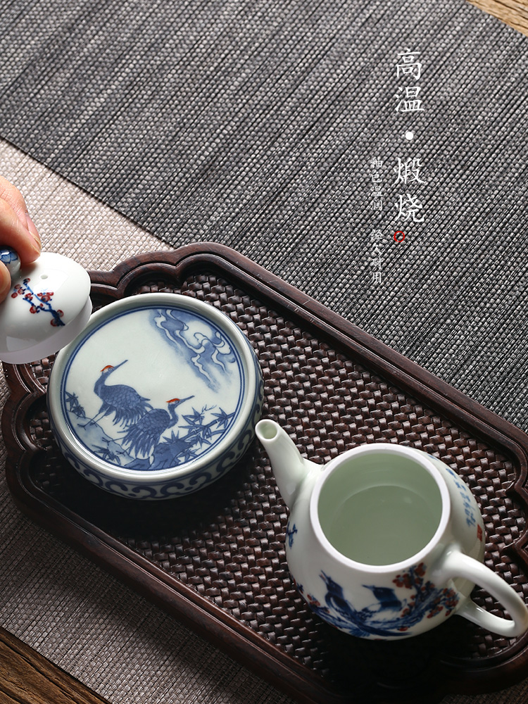 Jingdezhen blue and white cranes ceramics are it buy antique hand - made cover cover pad kung fu tea accessories tea taking with zero