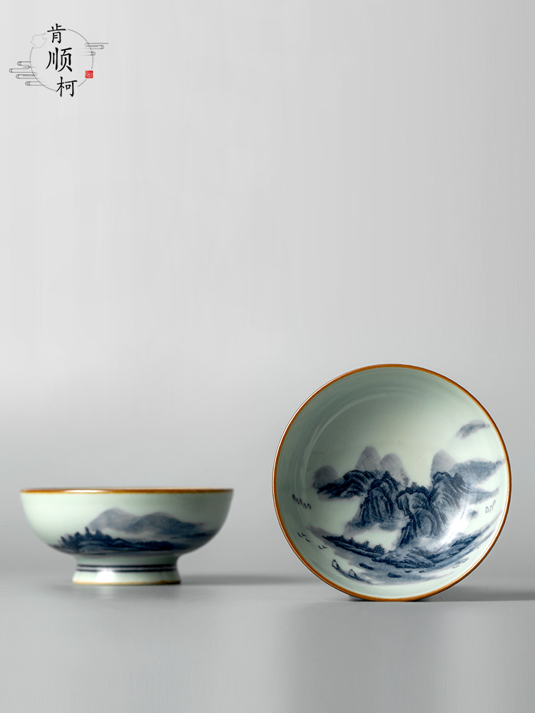 Jingdezhen porcelain Jingdezhen ceramic tea masters cup of pure manual hand - made scenery puer tea cups of kung fu tea set